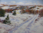 Snow Covered Road, Oil on Paper, 23x32, $850