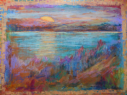 Sunset on the Bay, Oil Pastels on Paper, 23x32, $450