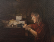 Watch Repairman, Oil on Canvas, 24x30, NFS